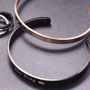 NEW SET HIS QUEEN HER KING CUFF BANGLE BRACELETS